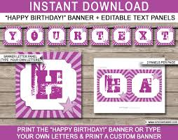 Purple Happy Birthday Banner Rock Star Party Banner Template Birthday Banner Editable Bunting