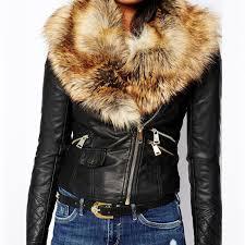 er jacket leather slim korean autumn winter women patchwork lace fur neck solid color basic coats