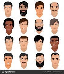 男の肖像画ベクトル男性キャラクター顔髪型と漫画の男まさり人と少年の