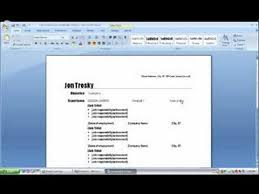 How To Create A Resume In. Ms Word 2007 Youtube
