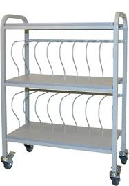 Chart Cart On Wheels Mobile Medical Chart Rack 16 Space 3 Binder Storage Cart