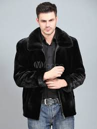 faux fur coat black turndown collar long sleeve zip up regular fit short coat for men