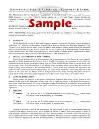 Maintenance Service Agreement Form Sample Free Download