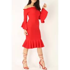 Frill Sleeve Bardot Midi Dress
