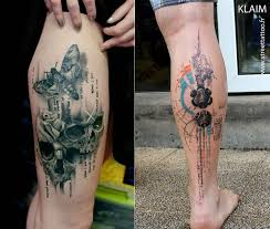 Realistic Moth And Skulls Watercolor Tattoo On Back Leg