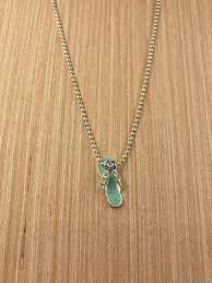 signed avon aqua rhinestone sandal flip flop pendant necklace 16 beaded chain