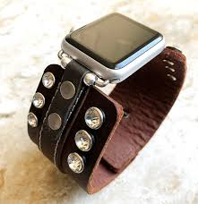 clear crystals on brown leather band strap bracelet w double closure for apple watch 38mm 40mm 42mm 44mm iwatch 1 2 3 4 nike hermes edition