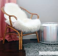 rattan chair with fur