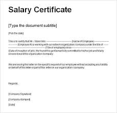 Salary Certificate Format For Bank Loan Doc Salary Certificate