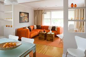 Orange Couch Living Room Family Room Homes Design Inspiration
