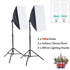 2x135w photo studio soft box continuous lighting softbox light stand kit set 1 of 10only 3 available