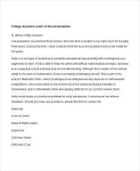 Free Letter Of Recommendation Template For College Academic Letter Of Recommendation Template Naveshop Co