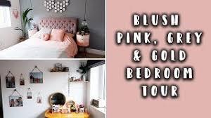 blush pink gold grey bedroom