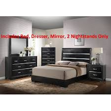 Heinrik 40 Piece Black Wood Queen Size Contemporary Bedroom Set Bed Adorable Black Contemporary Bedroom Set