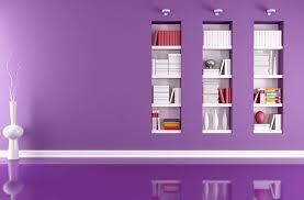 Purple wall Embedded bookshelves for study