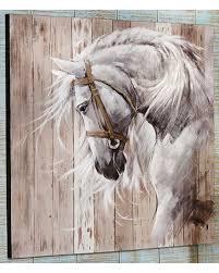 giftcraft horse head acrylic paint canvas wall decor beige khaki hi res