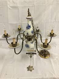 lot 188 vintage brass and delft style flower scene porcelain chandelier