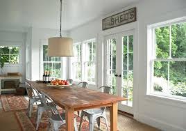 BEDROOM DESIGN Rustic Dining Table With Beige Drum Shade Chandelier