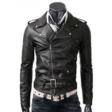 mens zipper biker style slim fit belted black leather jacket