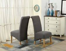foxhunter linen fabric dining chairs roll top scroll high back springed seat f01 grey x 8
