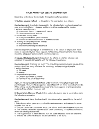 Cause And Effect Essays Organization Doc