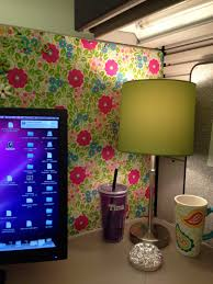 image cute cubicle decorating. Exellent Cute Cute Lamp In The Corner Matches My Wrapping Paper Wallpaper Cubicle Ideas  Decorations To Image Decorating C