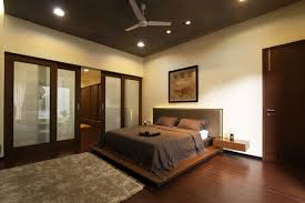 simple ceiling fan on calm ceiling color in brown bedroom ideas with plain wall paint and wooden floor