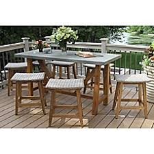 outdoor interiors 7piece teak composite counter height dining set with saddle stools outdoor patio dining sets h59