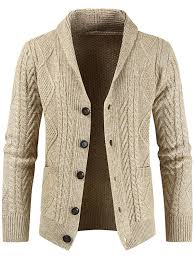 Men's Fashion Lapel Button-down Sweater Casual Knit Cardigan ...