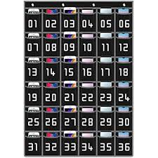Numbered Classroom Pocket Chart Organizer For Cell Phones Calculator And Business Cards With 4 Metal Hooks Perfect For School