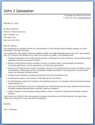 cover letter financial analyst sample financial analyst cover letter