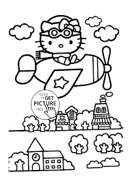 Small Picture Hello Kitty on airplane Coloring pages for kids