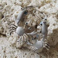 denny wong 14k crab earrings with blue diamonds