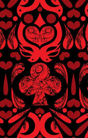 Cards Wallpaper in Black, Red and Burgundy design by Kreme