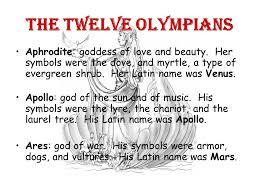 12 Olympians Chart Greek Mythology Gods Goddesses Ppt Video Online Download