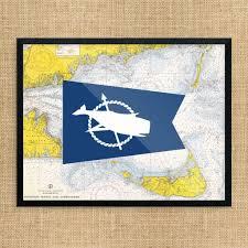 Nantucket Whale Flag Nautical Chart Print