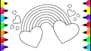 rainbow coloring pages. Delighful Pages Heart Shape Coloring Pages And How To Draw Cute Rainbow For  Kids Baby Inside C