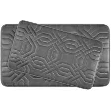 chain ring dark gray memory foam 2 piece bath mat set