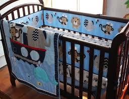 embroidery monkey elephant navigation blue sea whale baby bedding set quilt per skirt mattress cover 7pcs