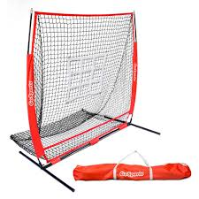 5 ft x 5 ft baseball and softball practice pitching and fielding net with bow frame carry bag and bonus strike zone