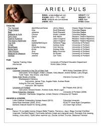 Theatre Acting Sample Resume 4 For With Globe Work Experience