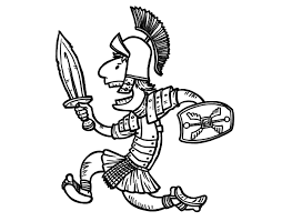 Roman Soldier Running Coloring Page Coloringcrewcom