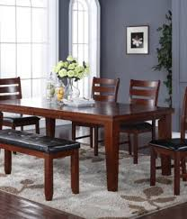 6pc brown solid wood extension dining set in portland oregon