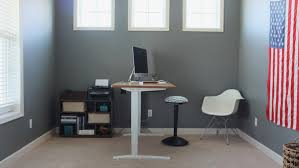 home office standing desk. we took the big desk and bookcases out of our office brought in a new home standing g