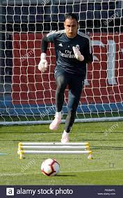 Real Madrid's Costa Rican goalie Keylor Navas during a team's training  session at Valdebebas sports complex in Madrid, Spain, 14 September 2018.  Real Madrid will face Athletic Bilbao in a Spanish Primera