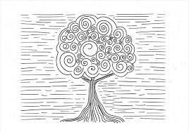 手描きの抽象的な木像 無料 イラスト素材ダウンロード無料の写真