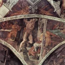 michelangelo s sistine chapel writework the crucifixion of haman