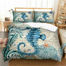 details about seahorse duvet quilt cover set bedding single double king bed pillowcase animals