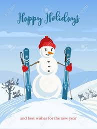 Holidays Snowman Happy Holidays Greeting Card With Cute Playful Cartoon Snowman