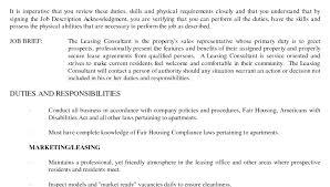 Leasing Consultant Jobs Agent Job Description Template Apartment